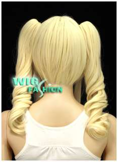 Short Light Blonde Cosplay Wig + 2 X Curly Ponytail