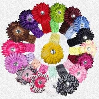 17 Colors Flower Baby Hair Bow Clip Crochet Headband