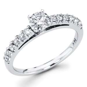 White Gold Round cut Diamond Solitaire Engagement Ring Band with Side