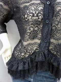 Elegant Floral Lace Sheer Cardigan Blouse Top Black