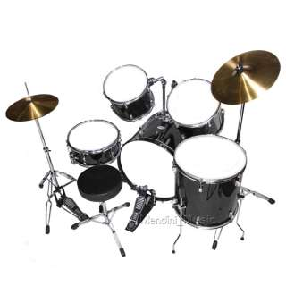 NEW 5 PIECE BLACK FULL SIZE DRUM SET + CYMBALS & THRONE