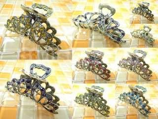 Multi Color Swarovski Crystal Heart Alligator Jaw Hair Clip Claw