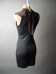 Goth Embroidery Lace High Neck Femme Fatale Sheath fp Dress M