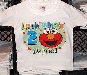 Personalized Look Whos Elmo Face Sesame Street Birthday Shirt
