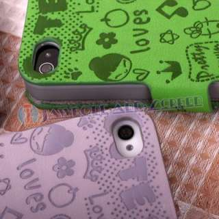 Purple Cute Leather Pouch Skin Case Cover Holster for Apple iphone 4