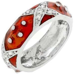 Rhodium and Ruby Red Hand Applied Enamel Set Over a Fine