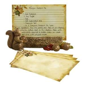 Home Again Squirrel with Acorn Recipe Card Holder Set