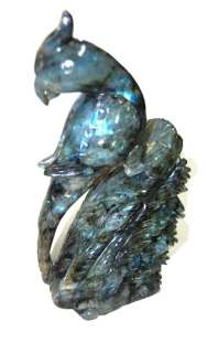 3775ct FABULOUS HAND SCULPTURE TOP QUALITY LABRADORITE RAINBOW PARROT