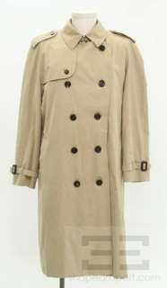 Burberry London Khaki Cotton & Wool Insert Mens Trench Size 44R