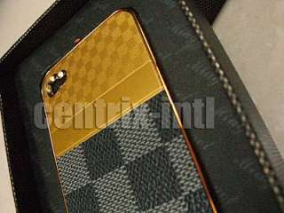 Gold Checkered Cell Phone Case Back Cover For iPhone 4