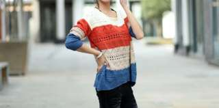 Loose Scoop Neck Casual Color Stripes Jumper Sweater Knitwear 6875