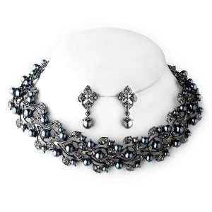 Bridal Wedding Jewelry Set Crystal Rhinestone Leaf Gray