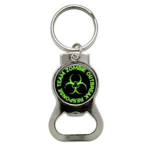 Zombie Outbreak Response Team   Green   Bottle Cap Opener Keychain