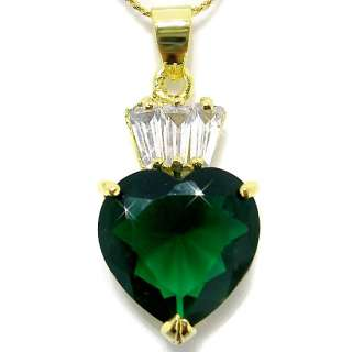 Elegant Heart Cut Emerald Necklace/Pendant P6054