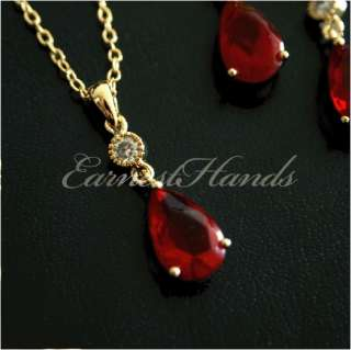 14K Gold GP Scarlet Red Drop Necklace&Earrings Jewerly SET Enchanting