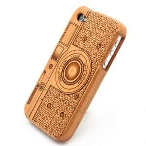 Natural Real Carved Camera Style Wood Wooden Case Cover