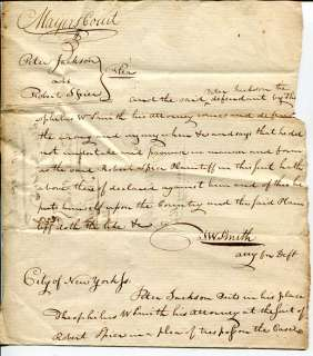 Early NY New York Mayors Court Rare Signed Autograph Legal Document