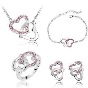 Pink Crystal Set Jewelry Earrings, Necklace, Bracelet