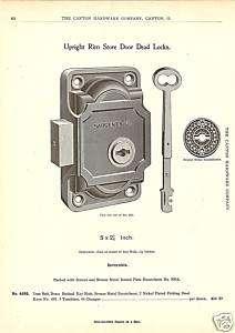 SARGENT RIM STORE DOOR LOCK KEY 1896 HADWARE CATALOG AD