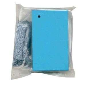 100 (2 1/8x3 5/8) Blank BLUE Hang Tags & 100 Cut Strings