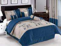 Blue Off White Gray Vine Bedding Comforter set  Full Queen King Curts