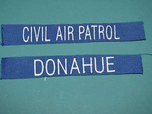 Custom Military Name Tape Civil Air Patrol Marine Blue w/ Coordinating