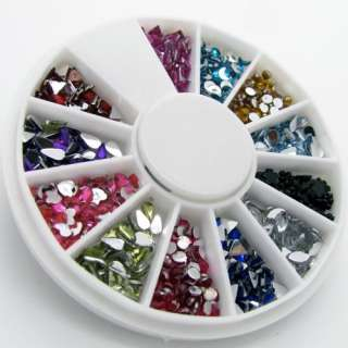 1000 Pcs 2 3mm Mix Shape Nail Art Rhinestones Glitters Wheel
