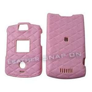Baby Pink Quilt Leather Texture Motorola RAZR V3 V3c V3m
