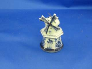Blue Delft Hand Painted Windmill Salt Shaker   Holland