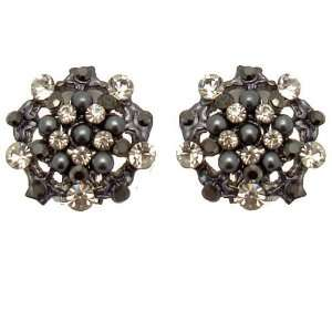 Acosta Jewellery   Hematite & Clear Crystal with Pearl   Vintage Style