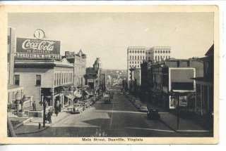DANVILLE VIRGINIA DOWNTOWN MAIN STREET SCENE ANTIQUE VINTAGE POSTCARD