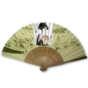 Geisha Painted Bamboo Wood Oriental Silk Folding Fan