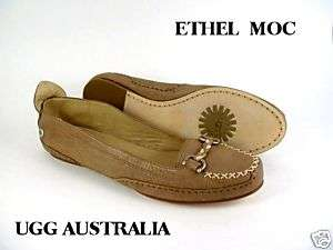 UGG AUSTRALIA WOMENS CREAM BROWN ETHEL LOAFER SIZE 7