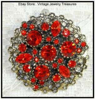 Vintage Deep Orange Amber Glass Rhinestone Gold Tone Pin