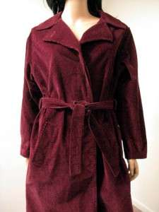 Long Burgundy Red Corduroy Trench Coat 12 L Velvety count Romi