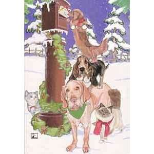 Dogs and Cats At Mailbox Christmas Cards: Everything Else