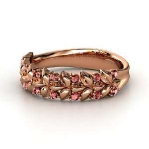 Laurel Ring, 14K Rose Gold Ring with Red Garnet Jewelry
