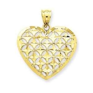14k Yellow Gold Diamond cut Heart Charm Jewelry