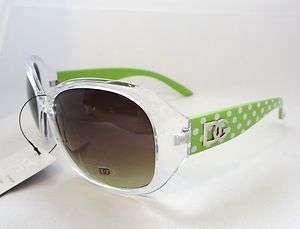DG Eyewear Sunglasses Green & Clear & White Polka Dots Women Ladies