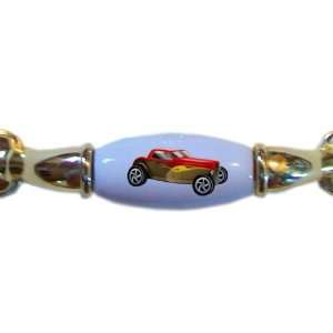 Yellow & Red Roadster Hot Rod Car BRASS DRAWER Pull Handle