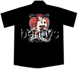 NEW Redhead Pinup Girl Work Shirt, Lucky 13, M