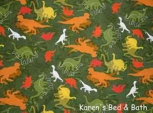 Prehistoric Dinosaur Dino Orange Yellow Red White Green Curtain
