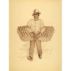 1949 Print Black Americana New Orleans Popcorn Kernel Street Vendor