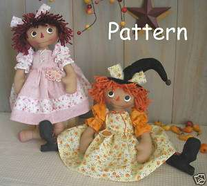 PATTERN Primitive Raggedy Ann Doll Witch Fabric Cloth Folk Art Craft