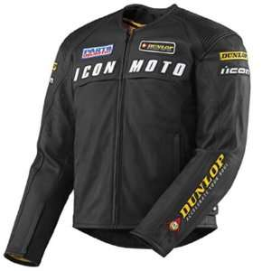 Icon Mens Dunlop Automag Factory Leather Motorcycle Jacket