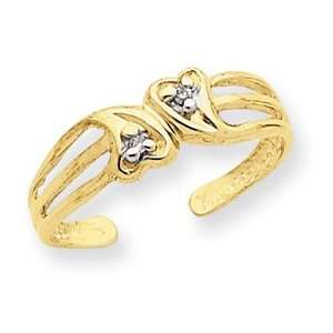 14k Double Heart .02ct Diamond Toe Ring   JewelryWeb Jewelry
