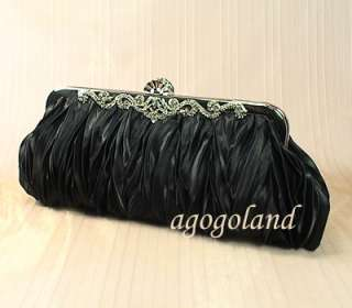 Black Satin Evening Purse   Elegant Crystal Fancy Clasp Clutch Handbag