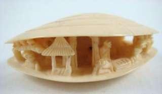 Netsuke Japanese Carved Ox Bone Clam Shell Diorama Village