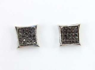 Genuine Black Diamond Micro Pave Earrings .15ct White .925