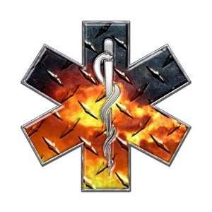 Star of Life EMT EMS Diamond Plate Fire 12 Reflective